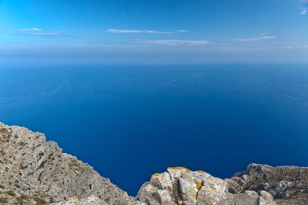 Beautiful seascape view of the sea and rocky shore, the Aegean Sea, Fodele Beach, Crete, Greece