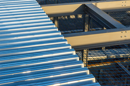 i beam: A construction site with I-beam steel framing and steel decking on top Stock Photo