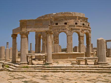 lybia: Antic market-hall in lybian Laptis Magna