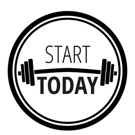 Start today motivation concept for fitness and bodybuilding typography vector illustration design