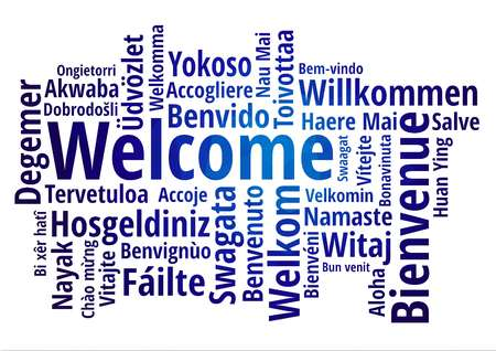 Welcome word cloud in different languages concept blue low poly font vector illustration Vectores