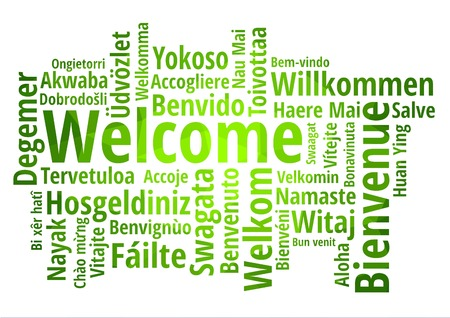 Welcome word cloud in different languages,green low poly background
