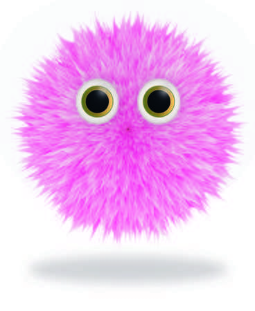 Furry fluffy hairy pink monster vector illustration