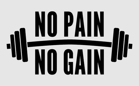 No pain no gain motivational poster or t-shirt design. Dumbbell and text on white background. Vector