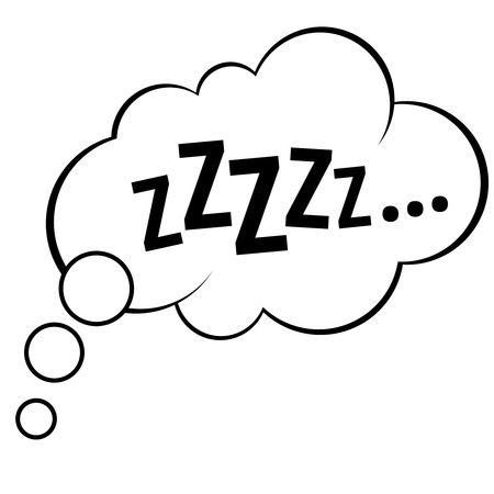Spać komiks bańka zzzzz ilustracji wektorowych