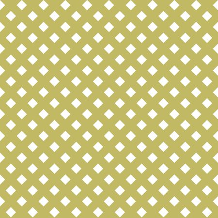 Seamless white golden abstract pattern. Print of white rhombs on golden background. Vector illustration Çizim