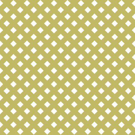 Sin fisuras patrón abstracto blanco dorado. Impresión de rombos blancos sobre fondo dorado. Ilustración vectorial
