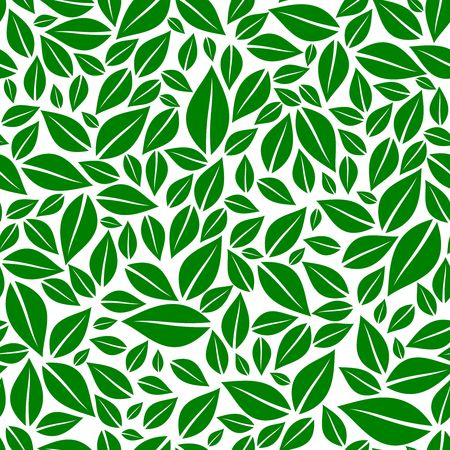 Green leaves seamless pattern vector illustration Ilustração