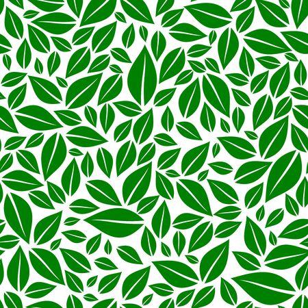 Green leaves seamless pattern vector illustration Stock Vector - 97575237