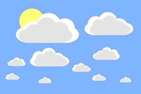 Cartoon clouds and sun. Vector illustration on blue background for design Illusztráció