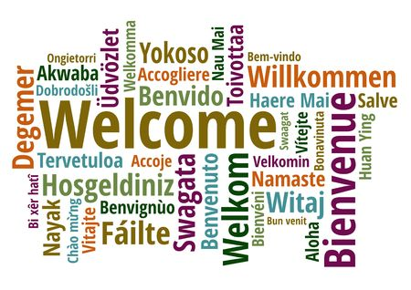 Welcome in different languages wordcloud on white background vector illustration Ilustração