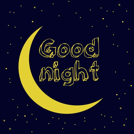 Good Night. Hand drawn typography poster. T shirt hand lettered calligraphic design. vector illustration.