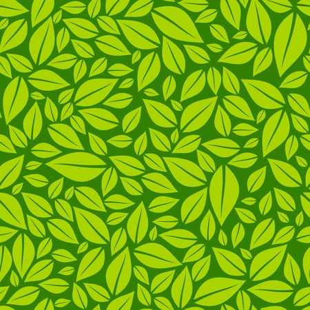 Green leaves seamless pattern vector illustration Ilustracja