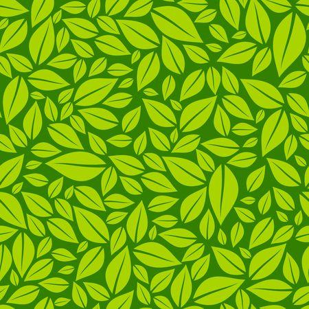 Green leaves seamless pattern vector illustration Illustration