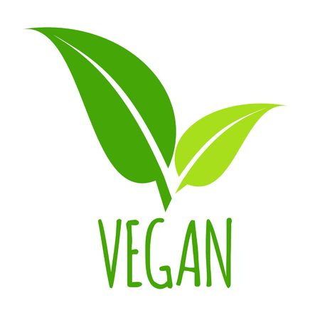 Vegan icon green leaf vector illustration isolated on white