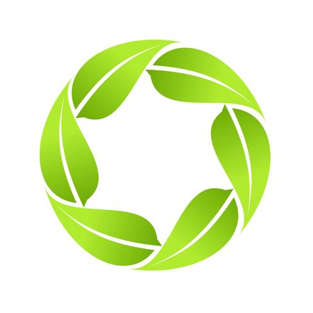 Eco icon green leaf vector illustration isolated on white