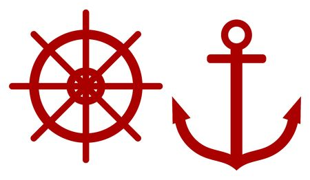 Anchors and steering wheel ship wheel rudder. Nautical symbols. Vector illustration Ilustracja