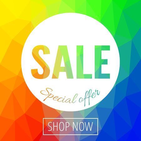 Sale banner template with low poly vector background. Special offers and discounts promotion. vector illustration. Ilustracja