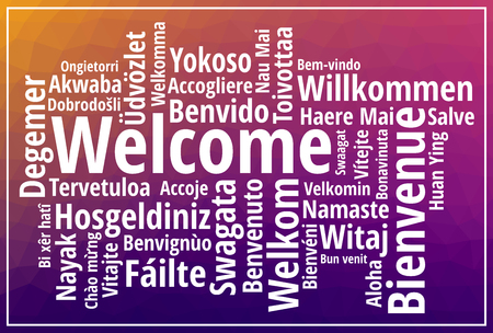 Welcome sign wordcloud on purple low poly background vector illustration Stock Illustratie