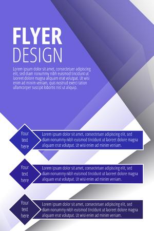 Brochure vector flyer design template in blue color illustration.