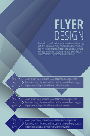 Brochure vector flyer design template in blue color illustration.