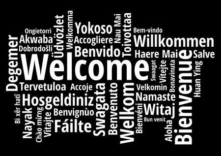 Welcome in different languages wordcloud on white background vector illustration Vettoriali