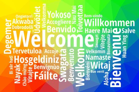 Word welcome in different languages illustration