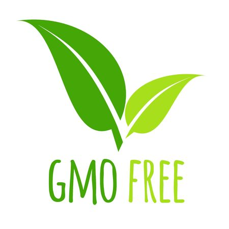 A GMO free icon green leaf vector illustration isolated on white background