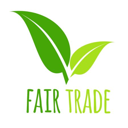 Fair trade icon green leaf vector illustration isolated on white background Illustration