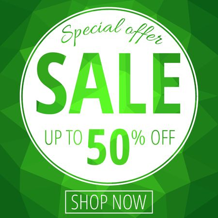 Sale banner template with low poly vector background vector illustration. Stock Illustratie