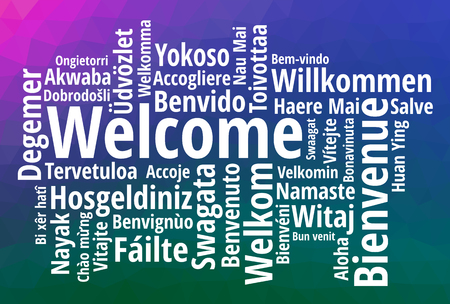 WELCOME word cloud in different languages, concept purple blue green low poly background Stock Illustratie