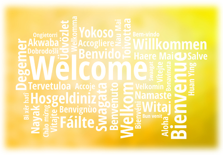 WELCOME word cloud in different languages, concept golden background Zdjęcie Seryjne