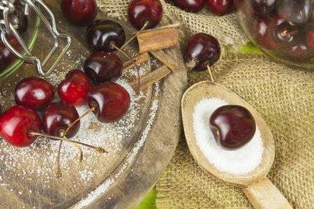 domestic production: Domestic production of cherry jam. Stock Photo