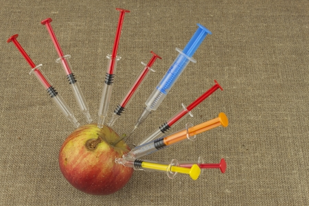 apple gmo: Genetic modification concept. Fruit and syginge. Apple receiving an injection of some substance for rapid ripening. Chemistry in the agricultural industry. Apple and syringe.