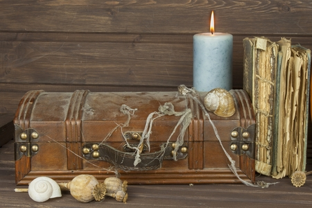 Mysterious locked cabinet. Pandora's box. Wooden treasure chests. Finding a mysterious wooden box. Mystery enclosed in the cabinet. Retro look of ancient wooden box like pirate treasure chest.