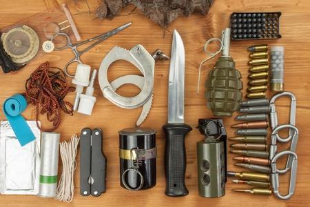saboteur: Weapons and Equipment secret agent. Preparing for a secret mission. Equipment terrorists.