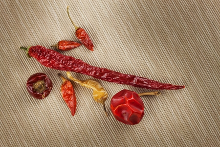 hottest: Different kinds of dried chili peppers. Dried red chili peppers. Hot spices to food.
