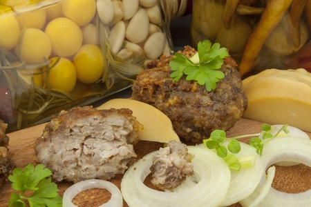 patti: Minced, fried meat and cheese. Homework for the party. Burger with minced meat and cheese. Stock Photo