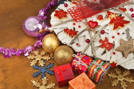 Christmas card. Decorations for the presents. Preparing for Christmas Eve. Stock Photo