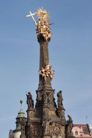 Detail of baroque Column in Olomouc. Classical Baroque artwork. Detail of sculptures.