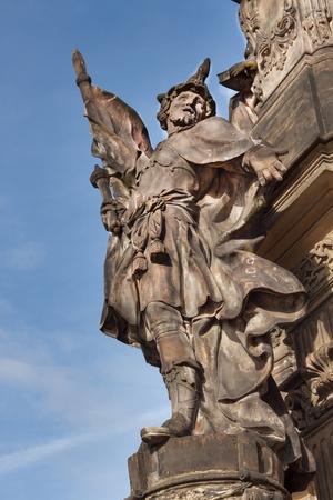 olomouc: Detail of baroque Column in Olomouc. Classical Baroque artwork. Detail of sculptures.