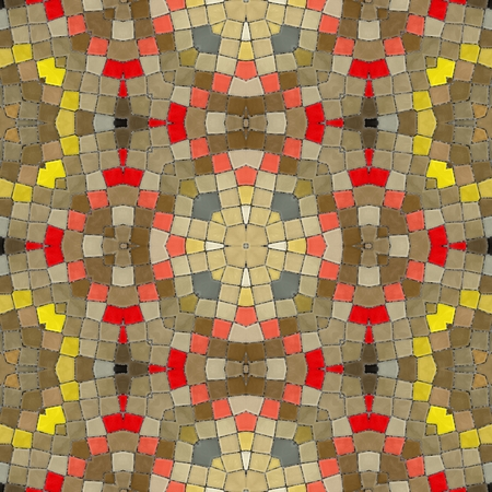 shards: Yellow seamless tiles. New seamless texture of abstract fabric. Arabic tile texture with geometric ornaments. Texture oriental carpets. Mosaic from glass shards.