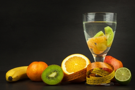 dietary: Dietary brunch. Raw food. Diet concept. Fresh fruit. Stock Photo