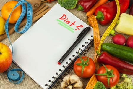 Fresh organic vegetables on the table. Diet meals. Raw Diet. Planning a healthy diet. Diary of a diet plan. Farm products.