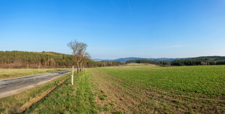 Large panorama of rural landscape in the Czech Republic. The landscape around Tisnov