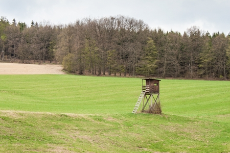 Hunting Tower on a field near the forest. Hunting deer. Overcast day Stock Photo