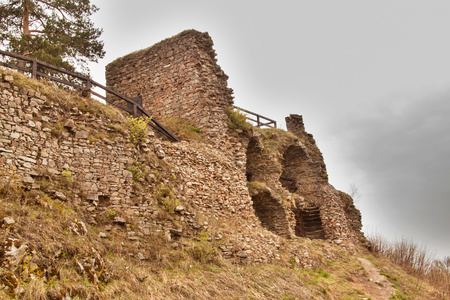 moravia: Zubstejn ruins of the castle built in the 13th century. It stands on a hill above the village Pivonice in Czech Republic. Overcast day Stock Photo