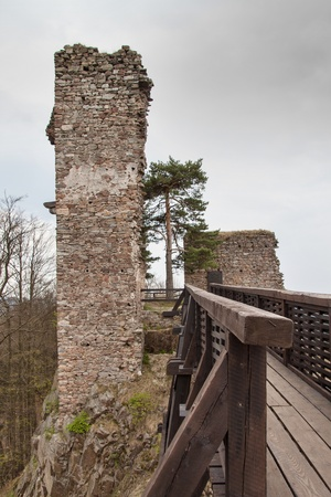 Zubstejn ruins of the castle built in the 13th century. It stands on a hill above the village Pivonice in Czech Republic. Overcast day Stock Photo