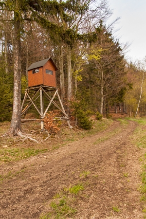 hunters tower: Hunting hide in the forest. Hunting stash. The wooden tower Stock Photo