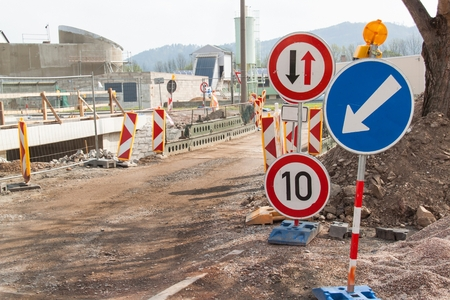 Road repair in the Czech Republic. Traffic signs. Roadwork. Traffic Marking of detours